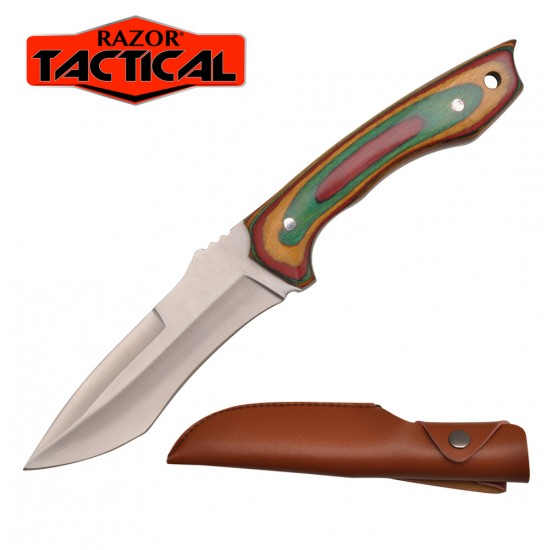 """9"""" Overall Hunting Knife Green Wood Handle with Sheath"""
