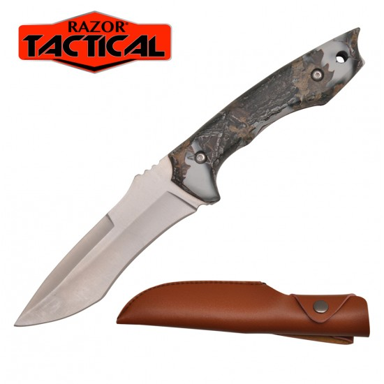 "9"" Overall Hunting Knife Snow Camo Handle with Sheath"
