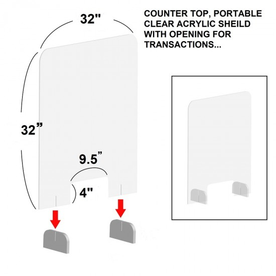 SNEEZE GUARD COUNTER TOP, PORTABLE CLEAR ACRYLIC SHIELD WITH OPENING