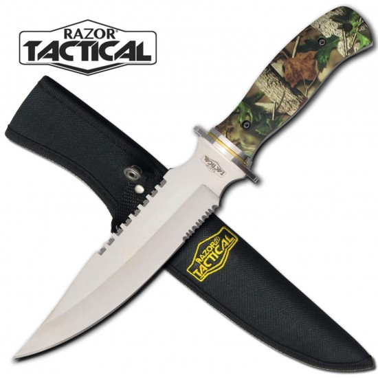 "Green CAMO Handle Full Tang 12"" Hunting Knife"