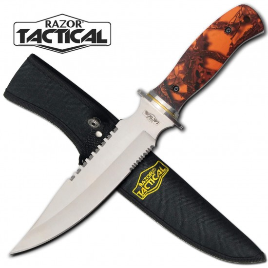 "ORANGE CAMO Handle Full Tang 12"" Hunting Knife"