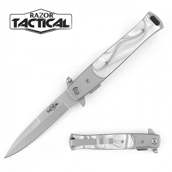 Stiletto Style Quick Assist knife W/ White Pearl Handle
