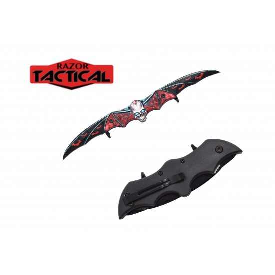 SKULL BAT DOUBLE BLADE KNIFE
