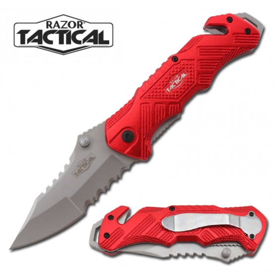 RED SPRING ASSISTED KNIFE W/ METAL HANDLE