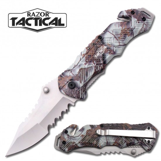 SNOW CAMO SPRING ASSISTED KNIFE W/ METAL HANDLE