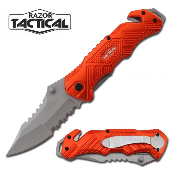 ORANGE SPRING ASSISTED KNIFE W/ METAL HANDLE