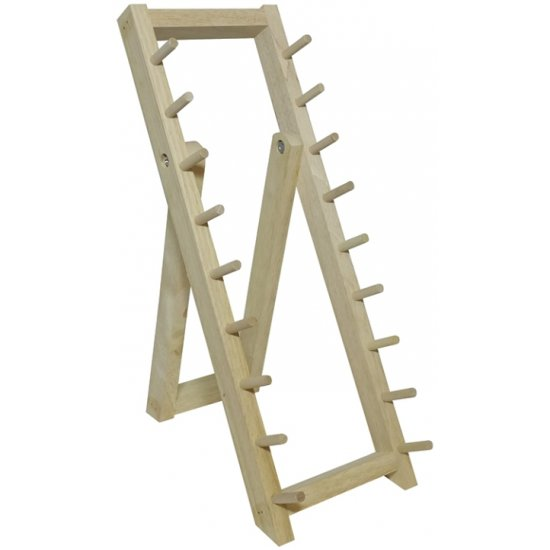 WOODEN 9 KNIVES DISPLAY STAND.