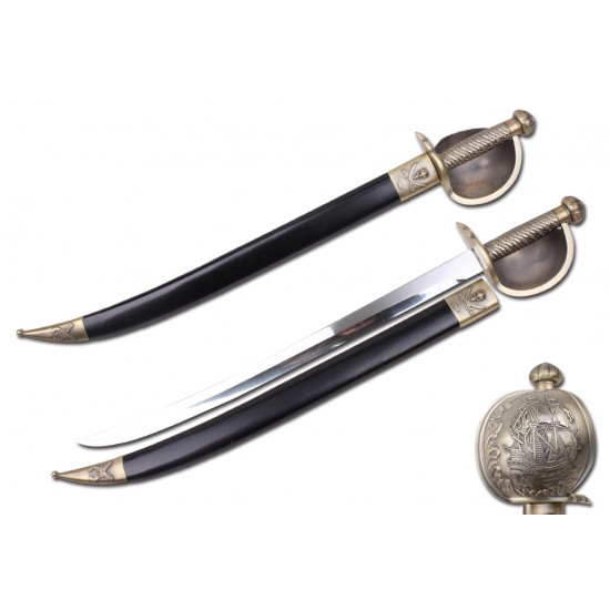 """31"""" PIRATE SWORD WITH PIRATE SHIP ON HANDGUARD (T614913)"""